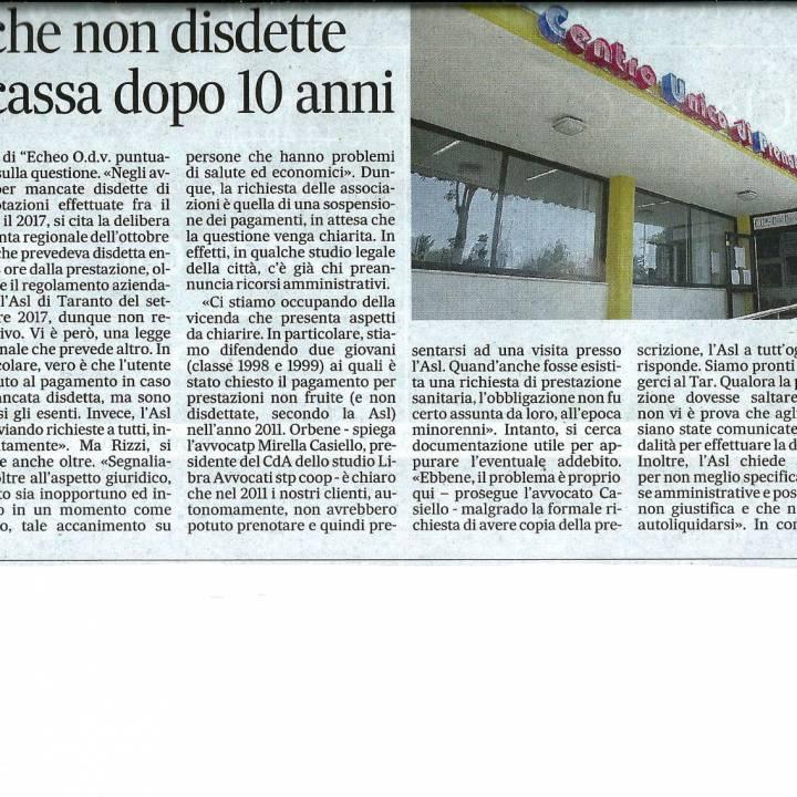 L'Asl di Taranto batte cassa per la mancata disdetta di una prenotazione al Cup. Ce ne stiamo occupando, ecco il caso di due ragazzi…
